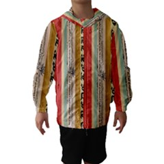 Digitally Created Collage Pattern Made Up Of Patterned Stripes Hooded Wind Breaker (Kids)
