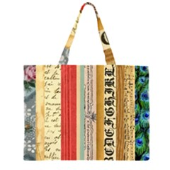 Digitally Created Collage Pattern Made Up Of Patterned Stripes Zipper Large Tote Bag