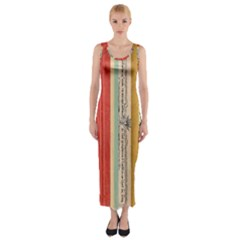 Digitally Created Collage Pattern Made Up Of Patterned Stripes Fitted Maxi Dress