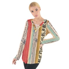 Digitally Created Collage Pattern Made Up Of Patterned Stripes Women s Tie Up Tee