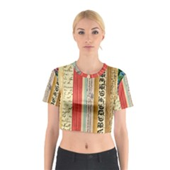 Digitally Created Collage Pattern Made Up Of Patterned Stripes Cotton Crop Top