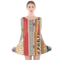 Digitally Created Collage Pattern Made Up Of Patterned Stripes Long Sleeve Velvet Skater Dress