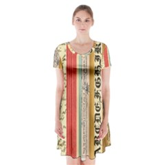 Digitally Created Collage Pattern Made Up Of Patterned Stripes Short Sleeve V Neck Flare Dress