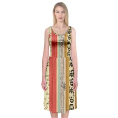 Digitally Created Collage Pattern Made Up Of Patterned Stripes Midi Sleeveless Dress