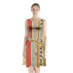Digitally Created Collage Pattern Made Up Of Patterned Stripes Sleeveless Chiffon Waist Tie Dress