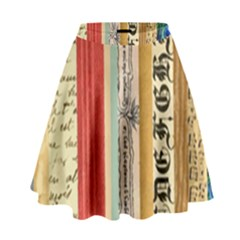Digitally Created Collage Pattern Made Up Of Patterned Stripes High Waist Skirt