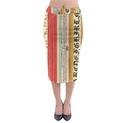 Digitally Created Collage Pattern Made Up Of Patterned Stripes Midi Pencil Skirt