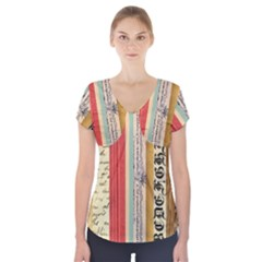 Digitally Created Collage Pattern Made Up Of Patterned Stripes Short Sleeve Front Detail Top