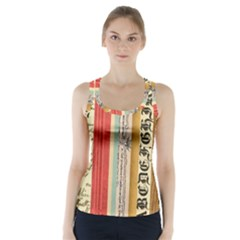 Digitally Created Collage Pattern Made Up Of Patterned Stripes Racer Back Sports Top