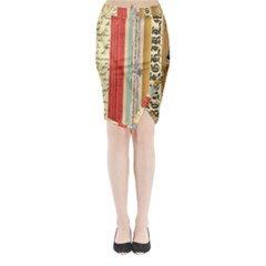 Digitally Created Collage Pattern Made Up Of Patterned Stripes Midi Wrap Pencil Skirt