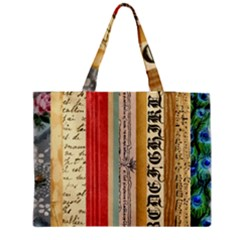 Digitally Created Collage Pattern Made Up Of Patterned Stripes Medium Tote Bag