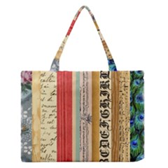 Digitally Created Collage Pattern Made Up Of Patterned Stripes Medium Zipper Tote Bag