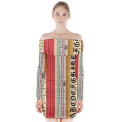 Digitally Created Collage Pattern Made Up Of Patterned Stripes Long Sleeve Off Shoulder Dress