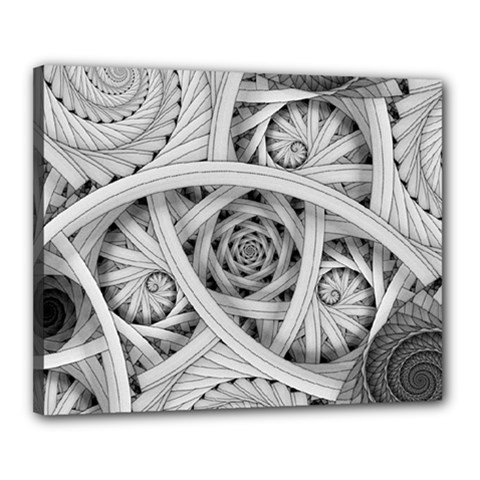 Fractal Wallpaper Black N White Chaos Canvas 20  X 16