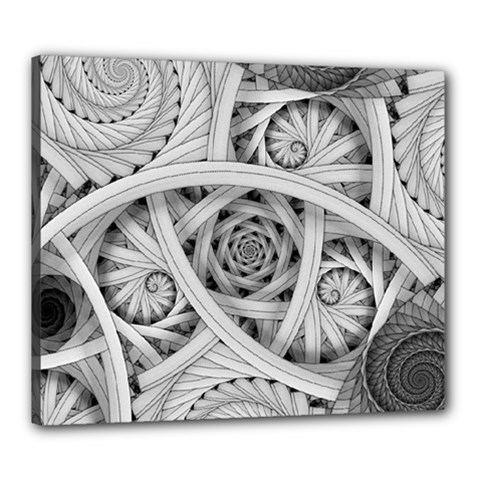 Fractal Wallpaper Black N White Chaos Canvas 24  X 20