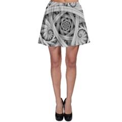 Fractal Wallpaper Black N White Chaos Skater Skirt