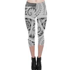 Fractal Wallpaper Black N White Chaos Capri Leggings