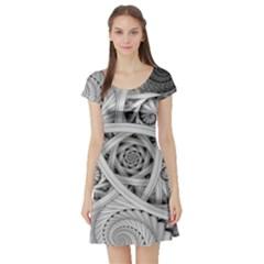 Fractal Wallpaper Black N White Chaos Short Sleeve Skater Dress