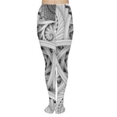 Fractal Wallpaper Black N White Chaos Women s Tights