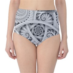 Fractal Wallpaper Black N White Chaos High Waist Bikini Bottoms
