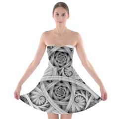 Fractal Wallpaper Black N White Chaos Strapless Bra Top Dress