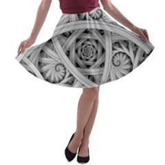 Fractal Wallpaper Black N White Chaos A-line Skater Skirt