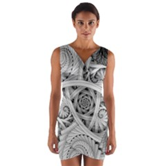 Fractal Wallpaper Black N White Chaos Wrap Front Bodycon Dress