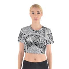 Fractal Wallpaper Black N White Chaos Cotton Crop Top