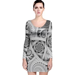 Fractal Wallpaper Black N White Chaos Long Sleeve Velvet Bodycon Dress