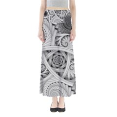 Fractal Wallpaper Black N White Chaos Maxi Skirts