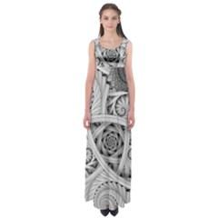 Fractal Wallpaper Black N White Chaos Empire Waist Maxi Dress