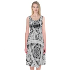 Fractal Wallpaper Black N White Chaos Midi Sleeveless Dress