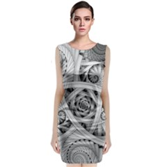 Fractal Wallpaper Black N White Chaos Classic Sleeveless Midi Dress