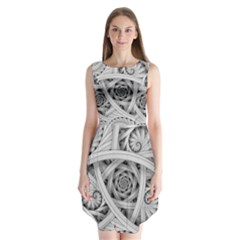 Fractal Wallpaper Black N White Chaos Sleeveless Chiffon Dress