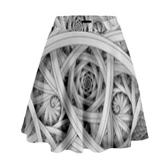 Fractal Wallpaper Black N White Chaos High Waist Skirt