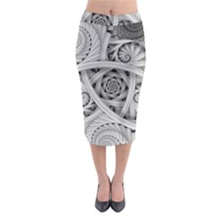 Fractal Wallpaper Black N White Chaos Midi Pencil Skirt
