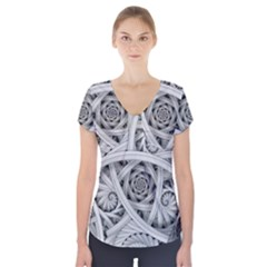 Fractal Wallpaper Black N White Chaos Short Sleeve Front Detail Top
