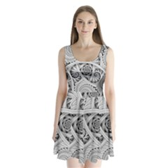 Fractal Wallpaper Black N White Chaos Split Back Mini Dress