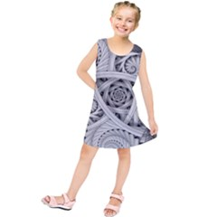Fractal Wallpaper Black N White Chaos Kids  Tunic Dress