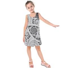 Fractal Wallpaper Black N White Chaos Kids  Sleeveless Dress