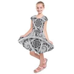 Fractal Wallpaper Black N White Chaos Kids  Short Sleeve Dress