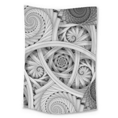 Fractal Wallpaper Black N White Chaos Large Tapestry