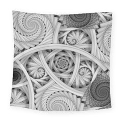 Fractal Wallpaper Black N White Chaos Square Tapestry (large)