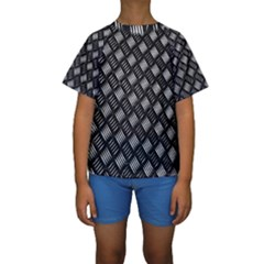 Abstract Of Metal Plate With Lines Kids  Short Sleeve Swimwear