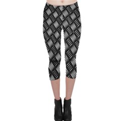 Abstract Of Metal Plate With Lines Capri Leggings