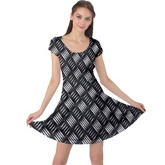 Abstract Of Metal Plate With Lines Cap Sleeve Dresses