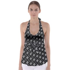 Abstract Of Metal Plate With Lines Babydoll Tankini Top