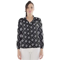 Abstract Of Metal Plate With Lines Wind Breaker (Women)