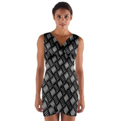 Abstract Of Metal Plate With Lines Wrap Front Bodycon Dress