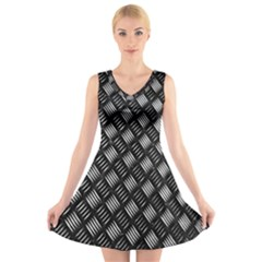 Abstract Of Metal Plate With Lines V Neck Sleeveless Skater Dress